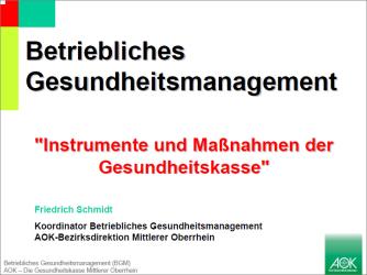 Friedrich Schmidt, Betriebliches Gesundheitsmanagement: Instrumente und Maßnahmen der Gesundheitskasse (AOK)