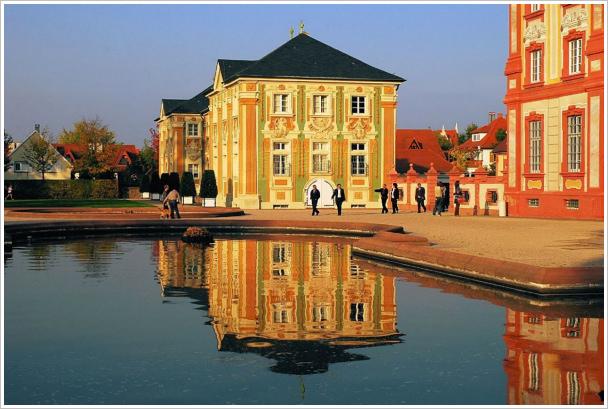 Barockschloss Bruchsal - Gartenseite am Abend